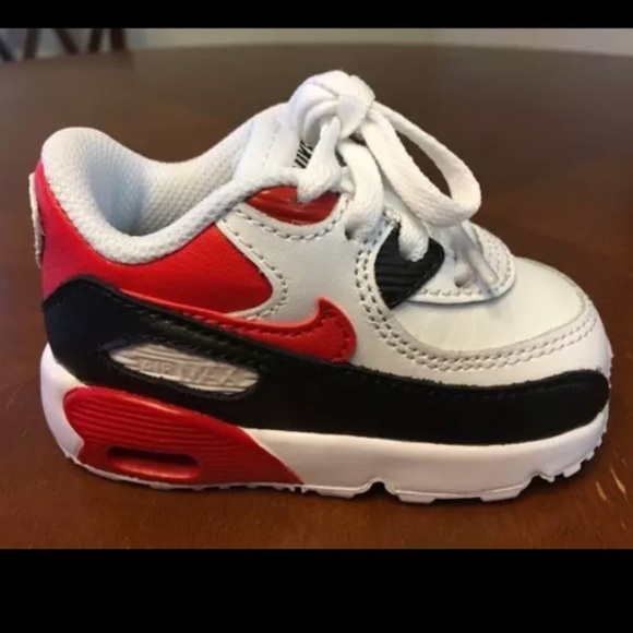 release date: 5ca94 4642e Nike Air Max 90 LTR Red White Black Girl Shoes NWT